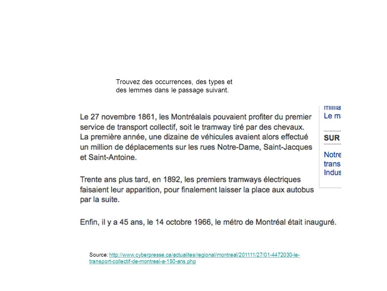 Trouvez des occurrences, des types et des lemmes dans le passage suivant. Source: http://www.cyberpresse.ca/actualites/regional/montreal/201111/27/01-