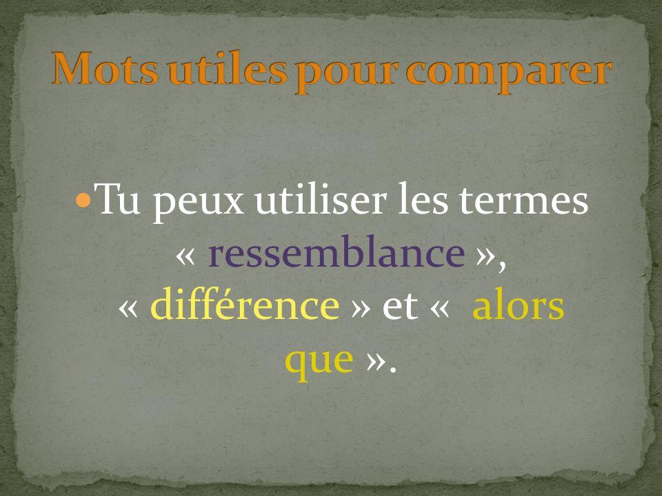 Tu peux utiliser les termes « ressemblance », « différence » et « alors que ».