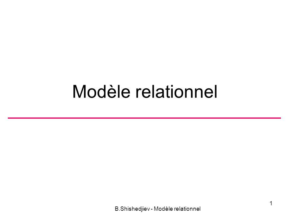 Modèle relationnel B.Shishedjiev - Modèle relationnel 1