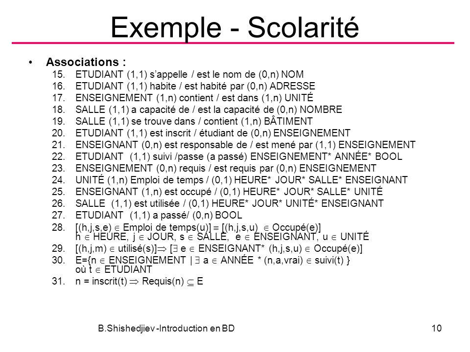 Exemple - Scolarité Associations : 15.ETUDIANT (1,1) sappelle / est le nom de (0,n) NOM 16.ETUDIANT (1,1) habite / est habité par (0,n) ADRESSE 17.ENS