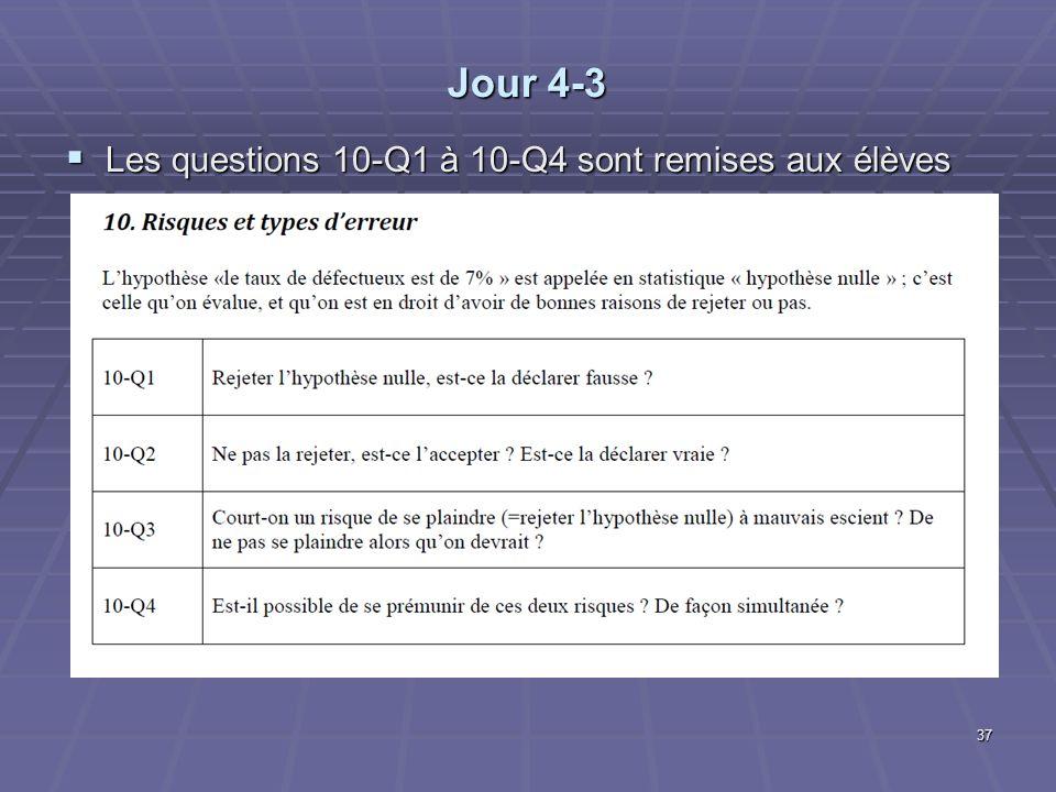 Jour 4-3 Les questions 10-Q1 à 10-Q4 sont remises aux élèves Les questions 10-Q1 à 10-Q4 sont remises aux élèves 37
