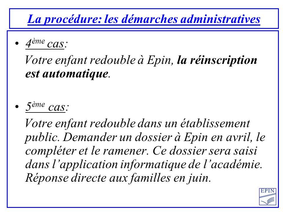 La procédure: les démarches administratives 4 ème cas: Votre enfant redouble à Epin, la réinscription est automatique. 5 ème cas: Votre enfant redoubl