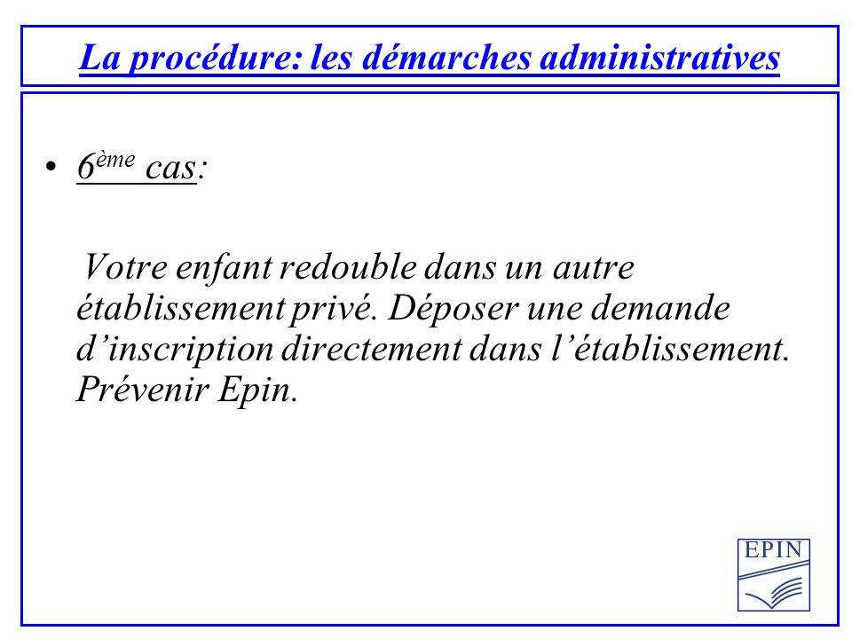 La procédure: les démarches administratives 6 ème cas: Votre enfant redouble dans un autre établissement privé.