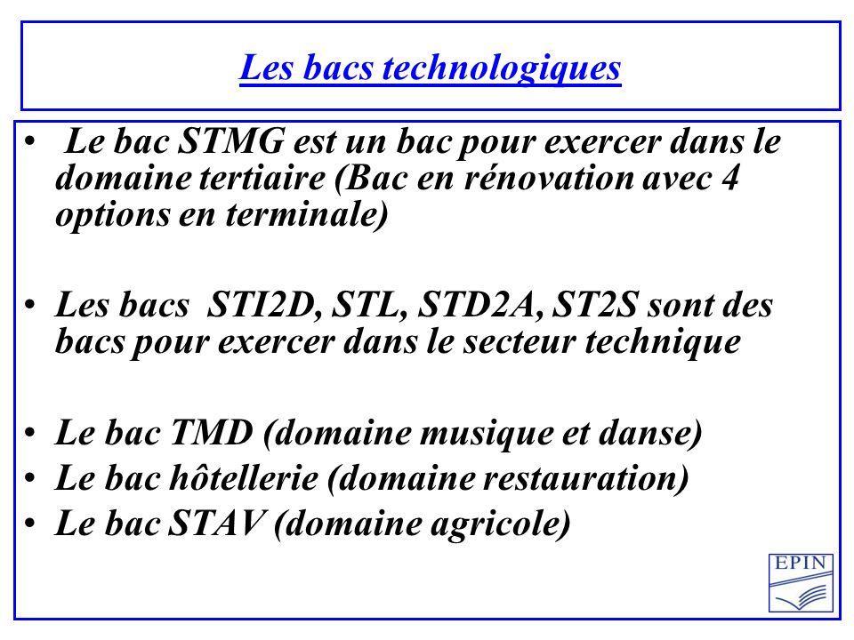 Les bacs technologiques Le bac STMG est un bac pour exercer dans le domaine tertiaire (Bac en rénovation avec 4 options en terminale) Les bacs STI2D, STL, STD2A, ST2S sont des bacs pour exercer dans le secteur technique Le bac TMD (domaine musique et danse) Le bac hôtellerie (domaine restauration) Le bac STAV (domaine agricole)