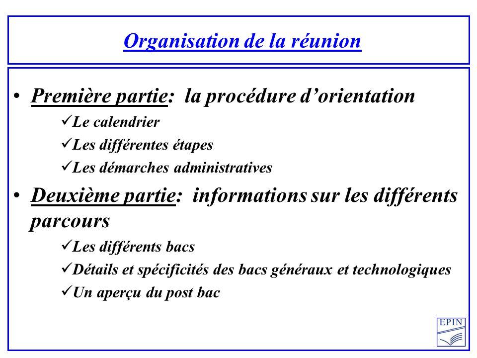 Organisation de la réunion Première partie: la procédure dorientation Le calendrier Les différentes étapes Les démarches administratives Deuxième part