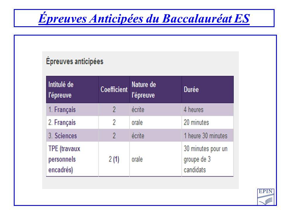 Épreuves Anticipées du Baccalauréat ES