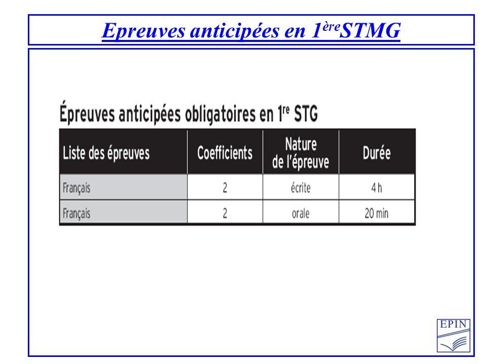 Epreuves anticipées en 1 ère STMG