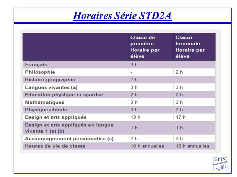 Horaires Série STD2A
