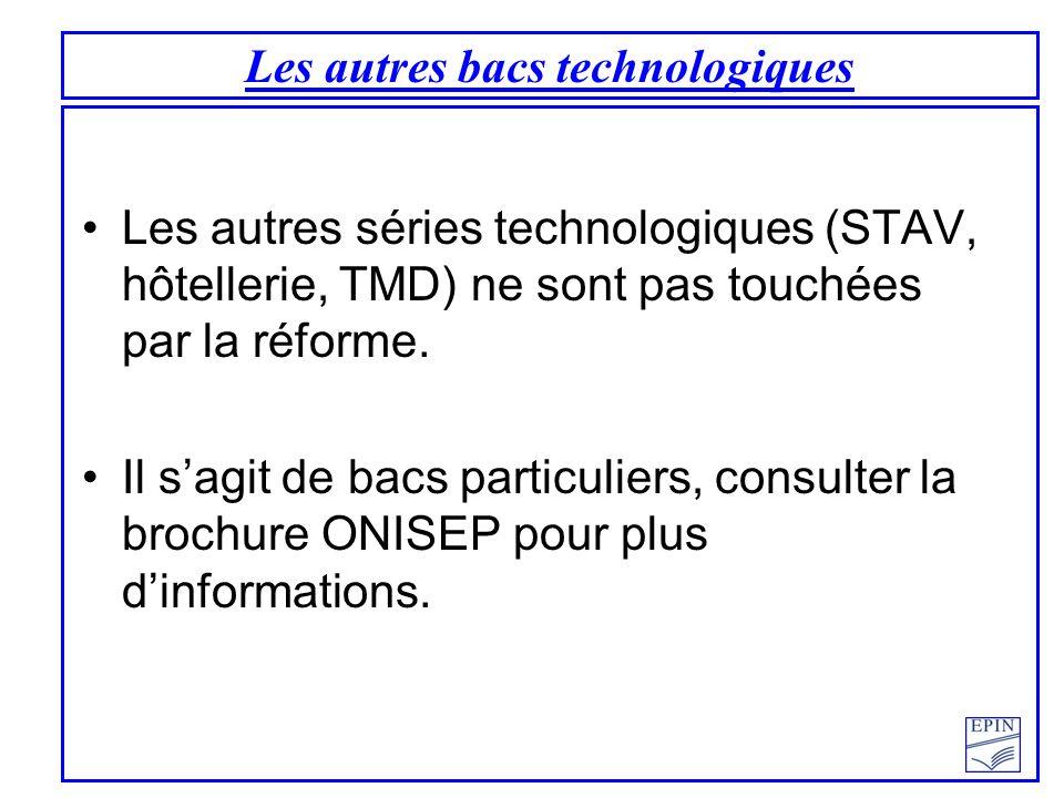 Les autres bacs technologiques Les autres séries technologiques (STAV, hôtellerie, TMD) ne sont pas touchées par la réforme. Il sagit de bacs particul