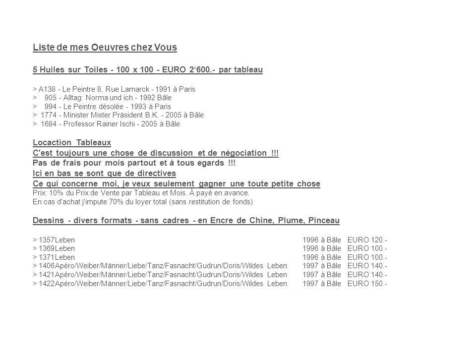 Liste de mes Oeuvres chez Vous 5 Huiles sur Toiles - 100 x 100 - EURO 2600.- par tableau > A138 - Le Peintre 8, Rue Lamarck - 1991 à Paris > 905 - Alltag: Norma und ich - 1992 Bâle > 994 - Le Peintre désolée - 1993 à Paris > 1774 - Minister Mister Präsident B.K.