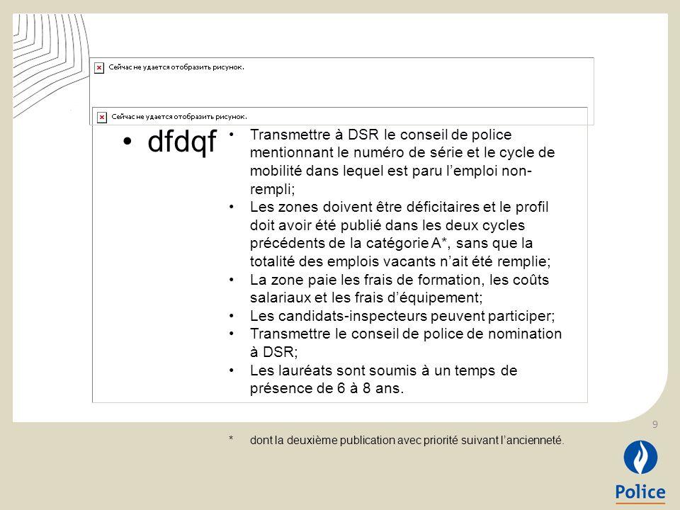 dfdqf La Zone de Police X est déficitaire et a déclaré, via le cycle de mobilité 2014/01, 12 places vacantes pour la fonction dInspecteur Membre Intervention.