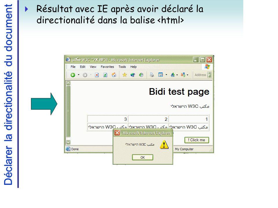 Déclarer la directionalité du document Résultat avec IE après avoir déclaré la directionalité dans la balise