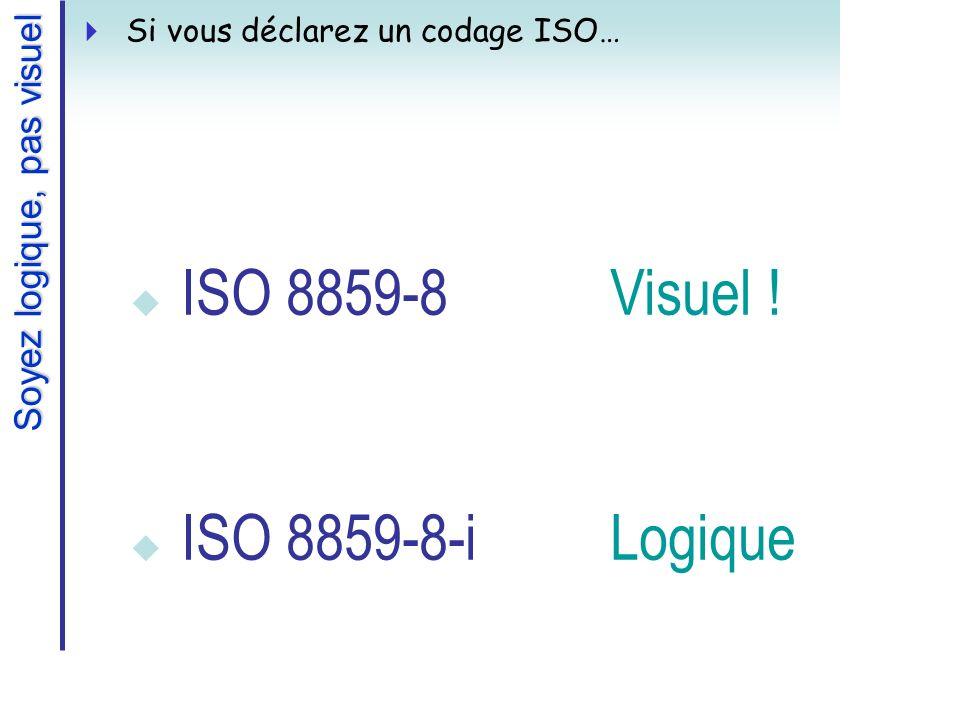 ISO 8859-8Visuel ! ISO 8859-8-iLogique Soyez logique, pas visuel Si vous déclarez un codage ISO…