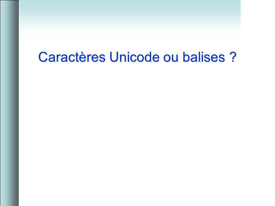 Caractères Unicode ou balises ?