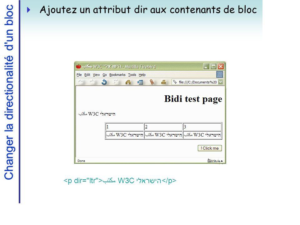 Changer la directionalité d un bloc Ajoutez un attribut dir aux contenants de bloc مكتب W3C הישראלי