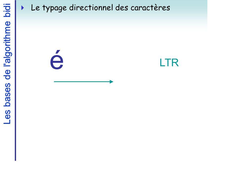 Le typage directionnel des caractères é LTR