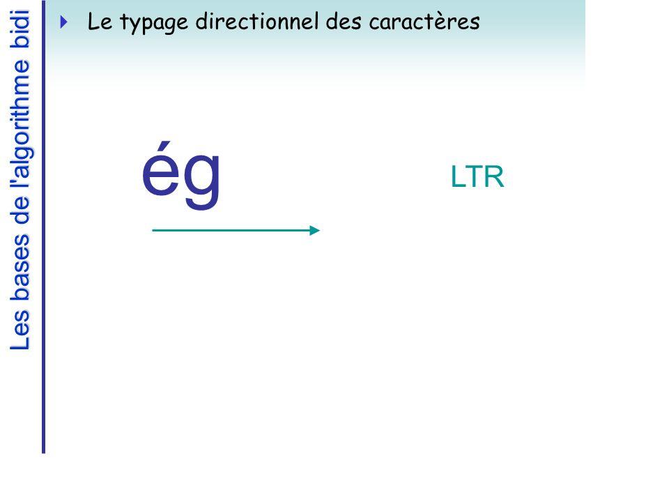 Les bases de l algorithme bidi Le typage directionnel des caractères égég LTR