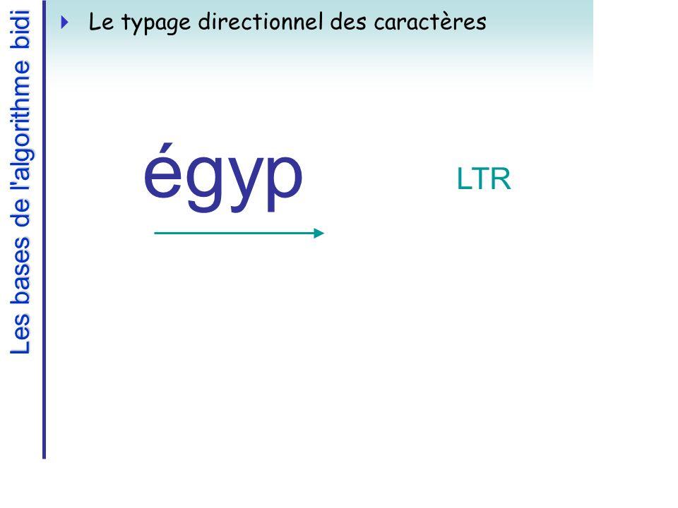 Les bases de l algorithme bidi Le typage directionnel des caractères égyp LTR