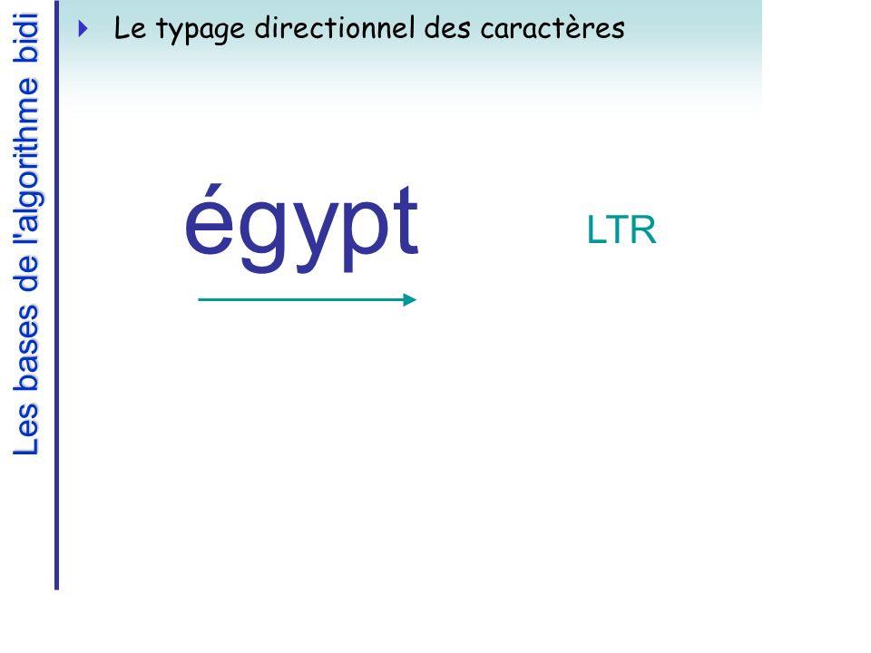 Les bases de l algorithme bidi Le typage directionnel des caractères égypt LTR