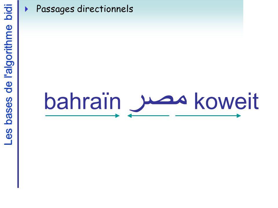 Les bases de l algorithme bidi Passages directionnels bahraïn مصر koweit