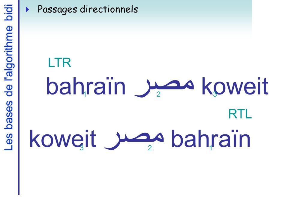 Les bases de l algorithme bidi Passages directionnels bahraïn مصر koweit LTR 123 bahraïn مصر koweit RTL 321