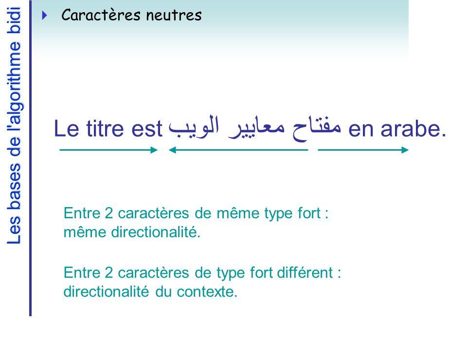 Les bases de l algorithme bidi Caractères neutres Le titre est مفتاح معايير الويب en arabe.