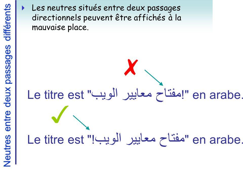 Neutres entre deux passages différents Les neutres situés entre deux passages directionnels peuvent être affichés à la mauvaise place.