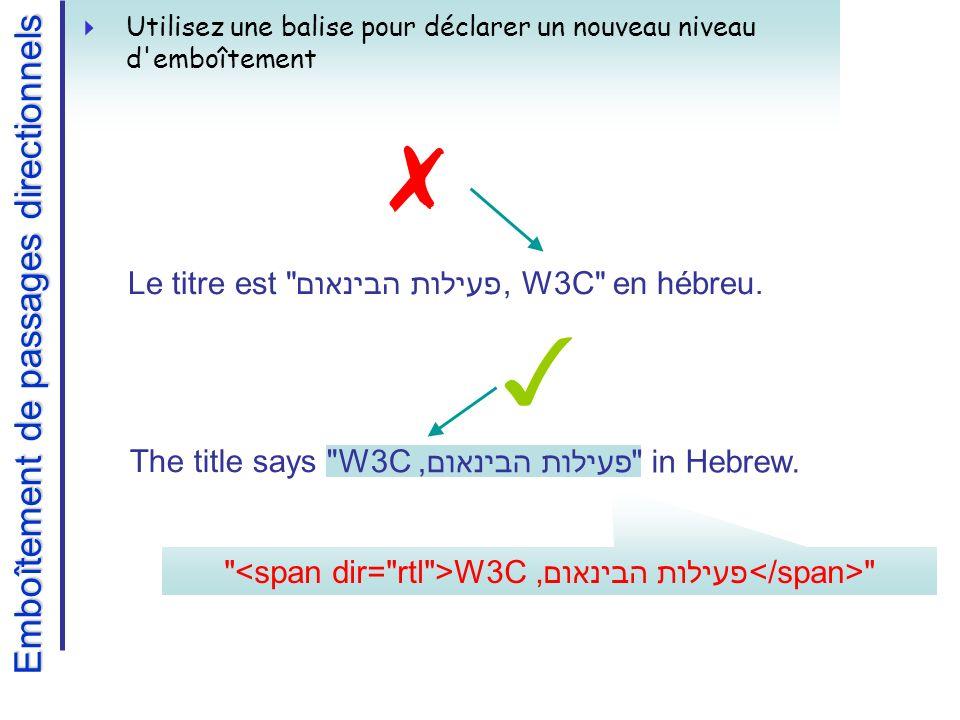 W3C, פעילות הבינאום Emboîtement de passages directionnels Utilisez une balise pour déclarer un nouveau niveau d emboîtement The title says פעילות הבינאום,W3C in Hebrew.