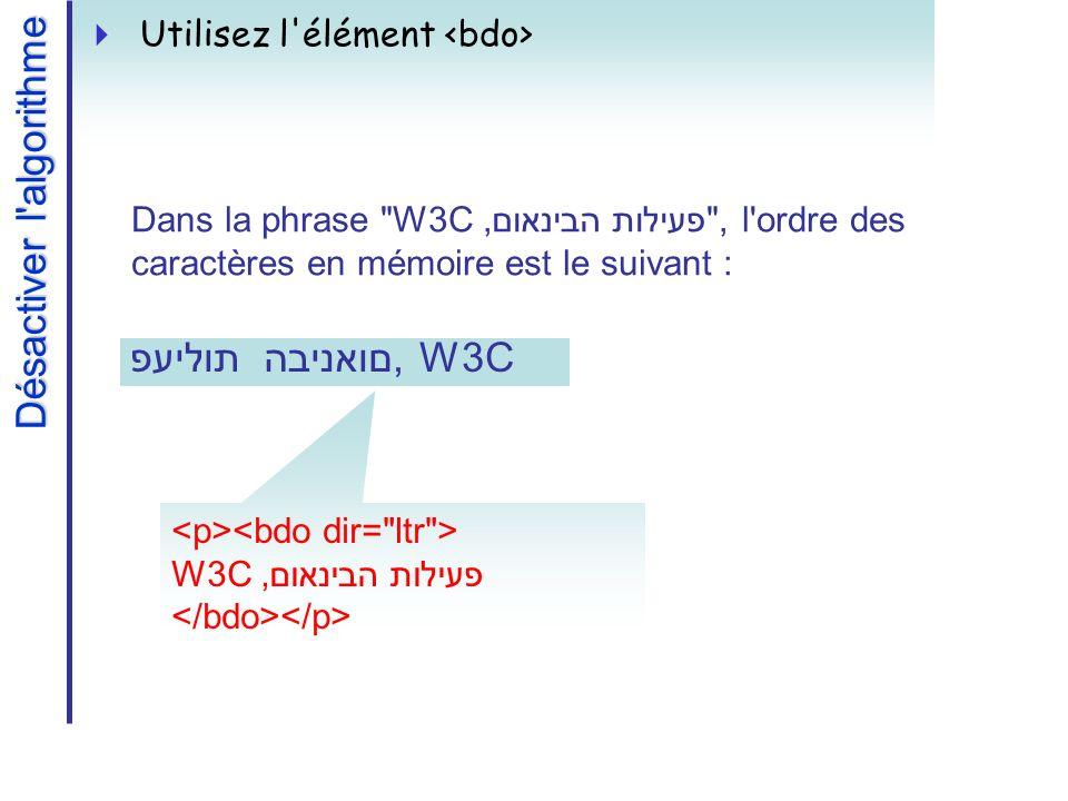 W3C,פעילות הבינאום Désactiver l algorithme Utilisez l élément פעילות הבינאום, W3C Dans la phrase W3C,פעילות הבינאום , l ordre des caractères en mémoire est le suivant :