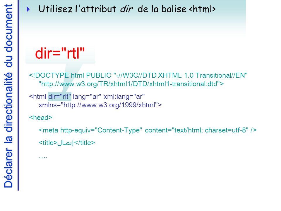 dir= rtl Déclarer la directionalité du document Utilisez l attribut dir de la balise إتصال ….