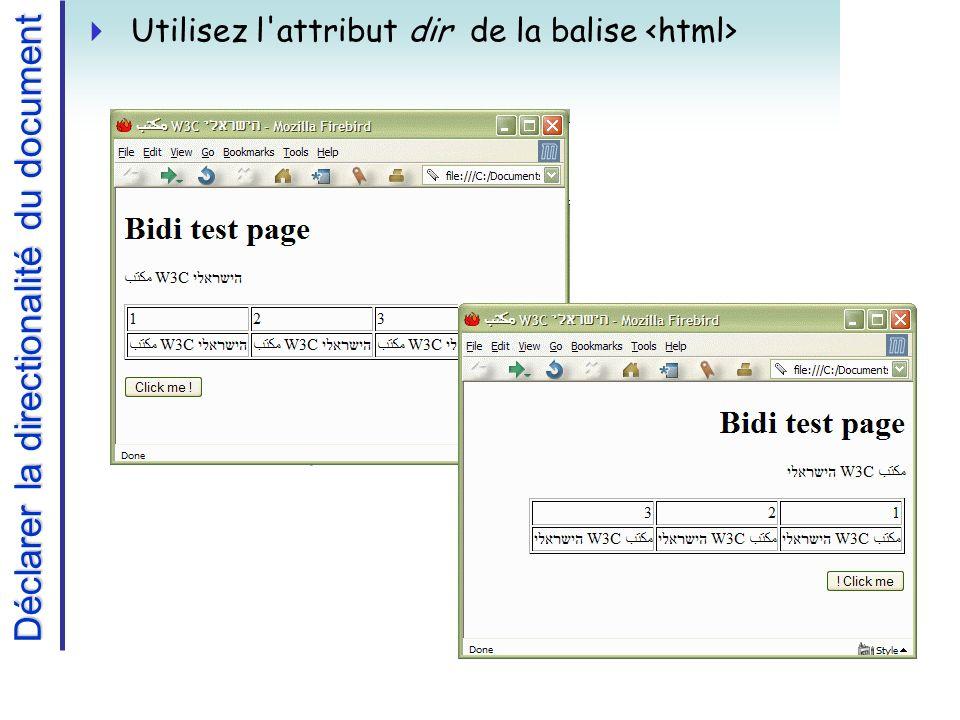 Déclarer la directionalité du document Utilisez l attribut dir de la balise
