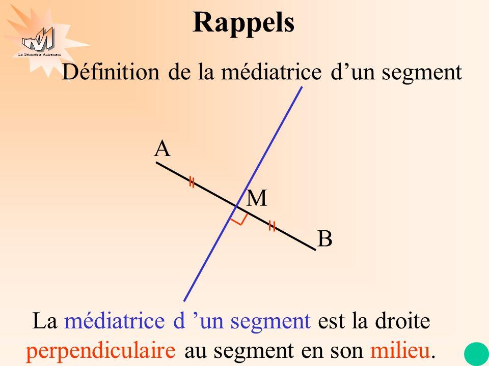 La Géométrie Autrement Construction de la médiatrice dun segment A B Rappels