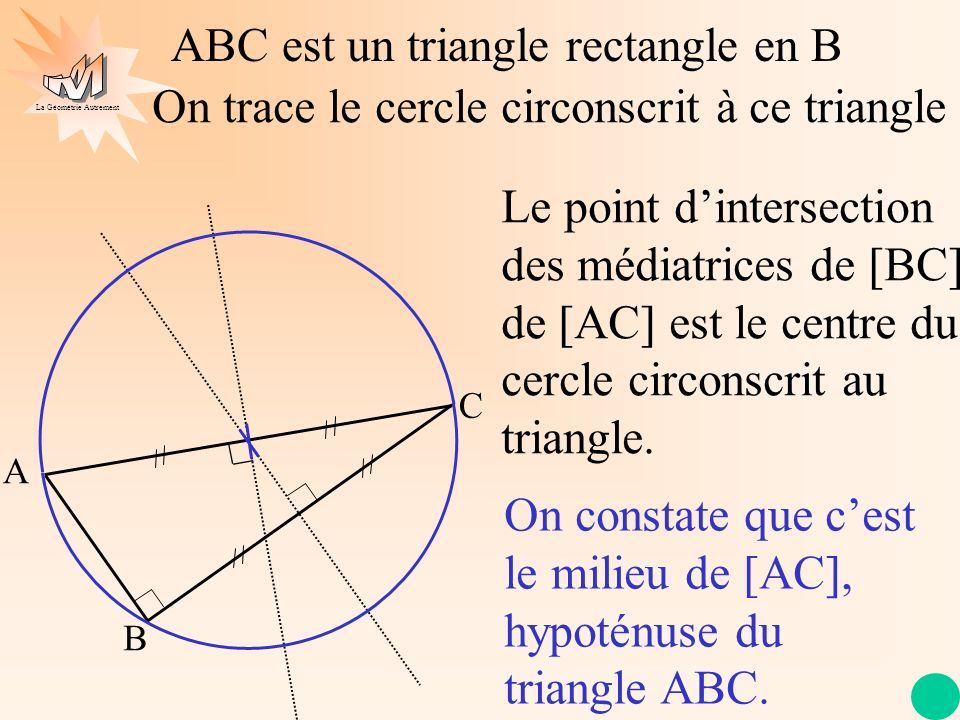 La Géométrie Autrement A C B ABC est un triangle rectangle en B On trace le cercle circonscrit à ce triangle Le point dintersection des médiatrices de