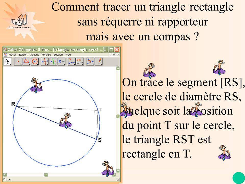 La Géométrie Autrement Propriété Si, dans un cercle, un triangle a pour sommet les extrémités dun diamètre et un point du cercle, alors ce triangle est rectangle en ce point.