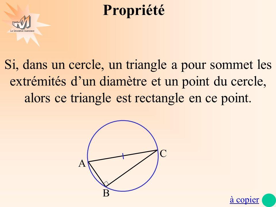 La Géométrie Autrement Triangle rectangle et cercle 1) Triangle rectangle cercle circonscrit médiane a) Médiatrice et triangle rectangle Définition de la médiatrice dun segment La médiatrice d un segment est la droite perpendiculaire au segment en son milieu.