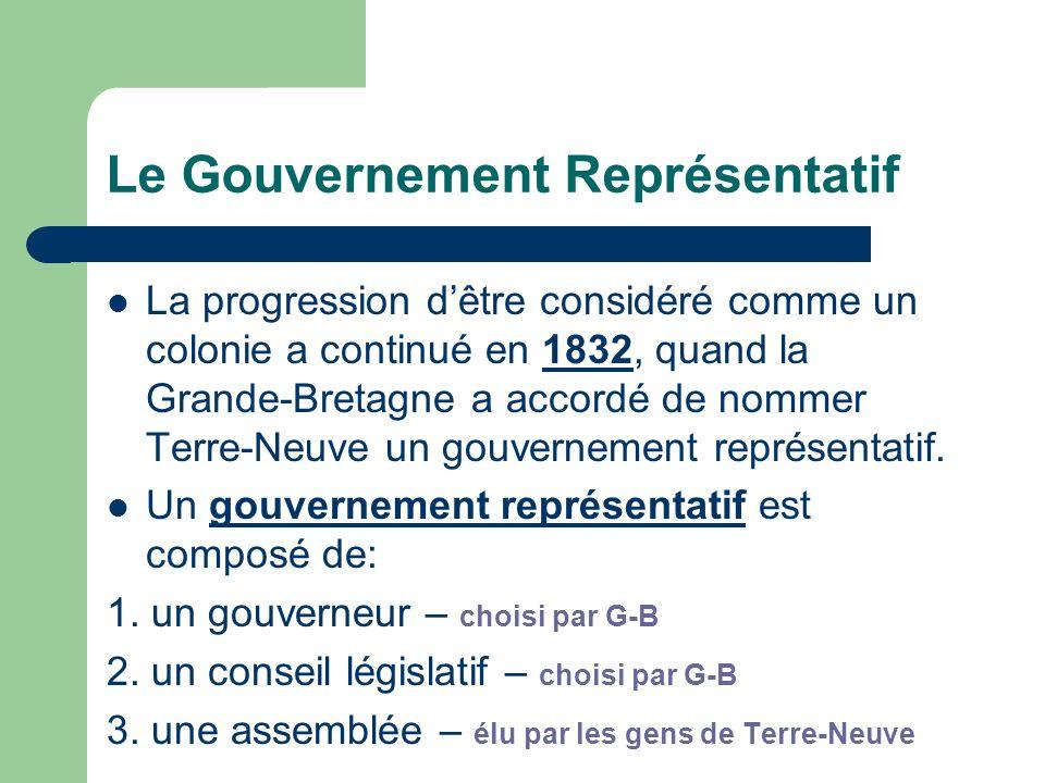 Le Gouvernement Représentatif La progression dêtre considéré comme un colonie a continué en 1832, quand la Grande-Bretagne a accordé de nommer Terre-Neuve un gouvernement représentatif.