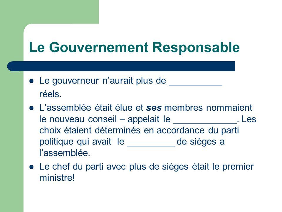 Le Gouvernement Responsable Le gouverneur naurait plus de __________ réels.