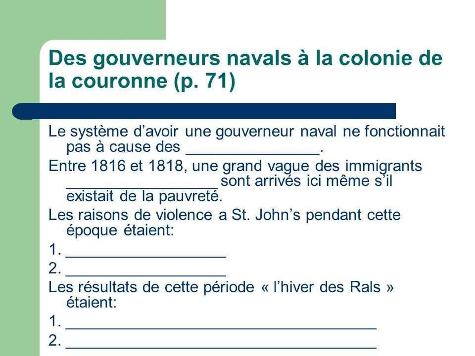 Des gouverneurs navals à la colonie de la couronne (p.