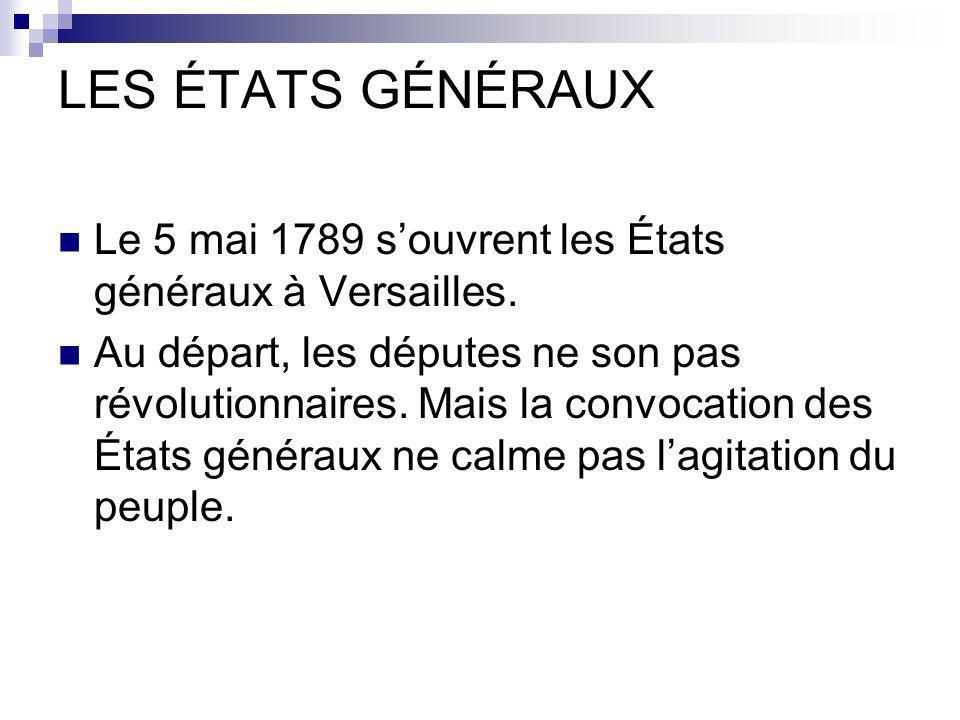 LES ÉTATS GÉNÉRAUX Le 5 mai 1789 souvrent les États généraux à Versailles. Au départ, les députes ne son pas révolutionnaires. Mais la convocation des