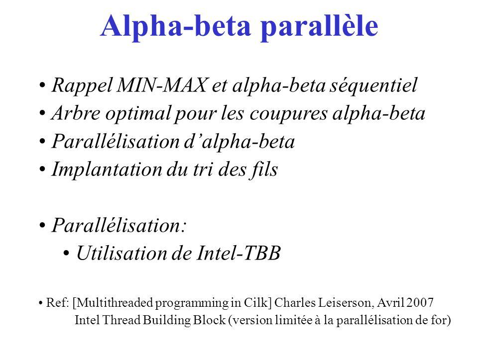 Alpha-beta parallèle Rappel MIN-MAX et alpha-beta séquentiel Arbre optimal pour les coupures alpha-beta Parallélisation dalpha-beta Implantation du tr