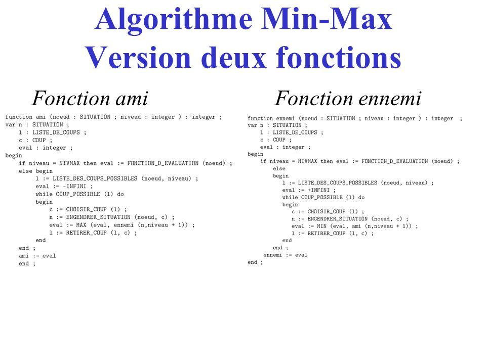 Algorithme Min-Max Version deux fonctions Fonction ami Fonction ennemi