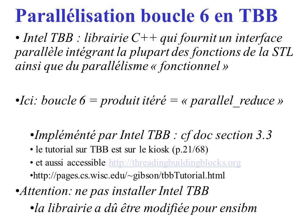 Parallélisation boucle 6 en TBB Intel TBB : librairie C++ qui fournit un interface parallèle intégrant la plupart des fonctions de la STL ainsi que du