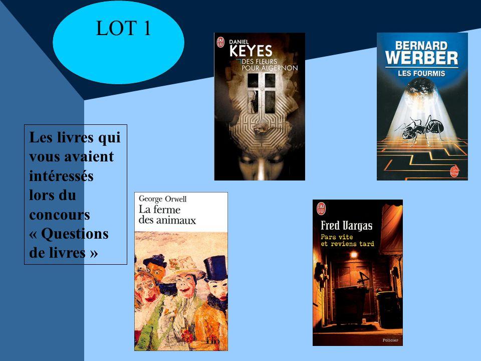 Les livres qui vous avaient intéressés lors du concours « Questions de livres » LOT 1