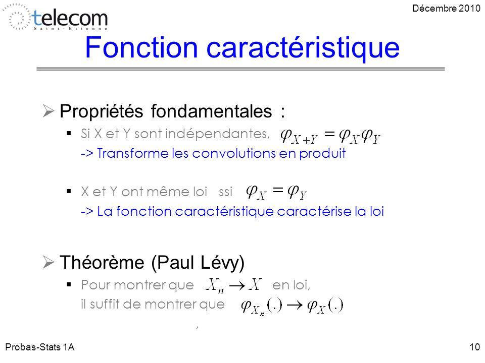Fonction caractéristique Propriétés fondamentales : Si X et Y sont indépendantes, -> Transforme les convolutions en produit X et Y ont même loi ssi -> La fonction caractéristique caractérise la loi Théorème (Paul Lévy) Pour montrer que en loi, il suffit de montrer que, Probas-Stats 1A10 Décembre 2010