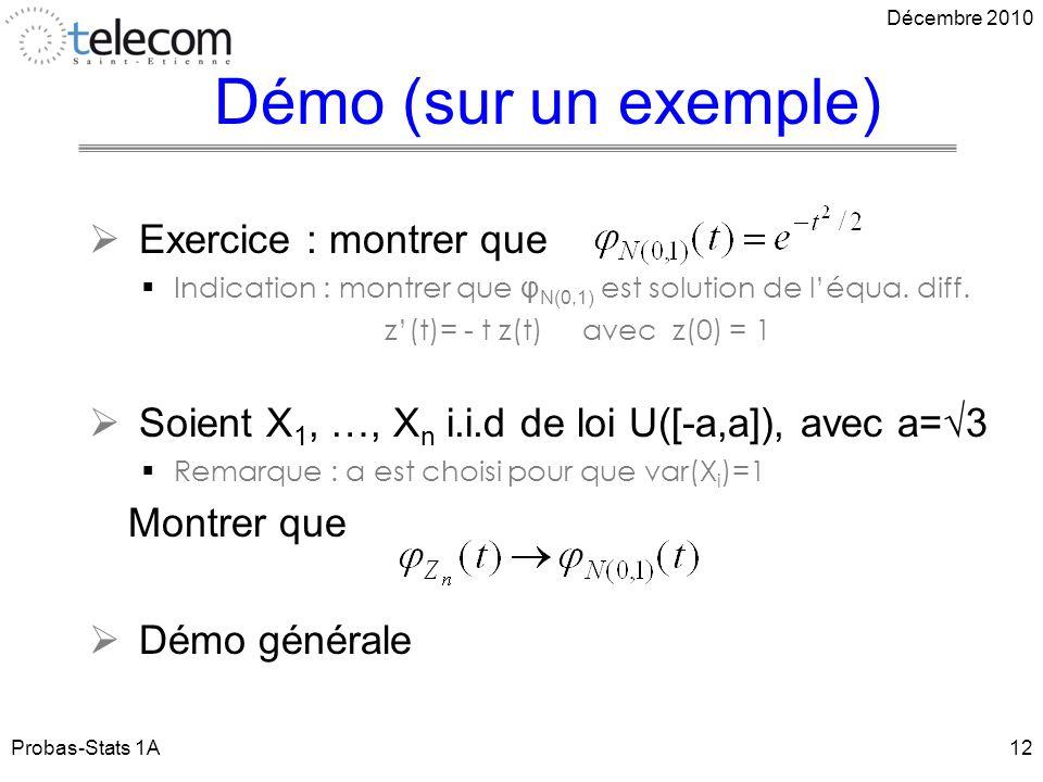 Démo (sur un exemple) Exercice : montrer que Indication : montrer que φ N(0,1) est solution de léqua.