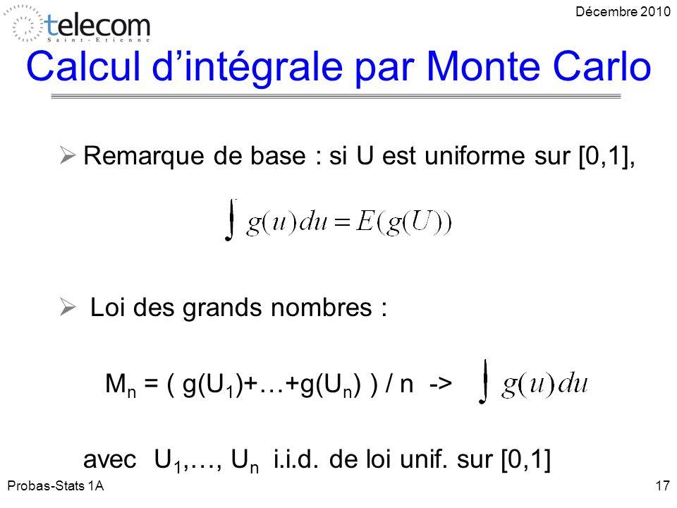 Remarque de base : si U est uniforme sur [0,1], Loi des grands nombres : M n = ( g(U 1 )+…+g(U n ) ) / n -> avec U 1,…, U n i.i.d.