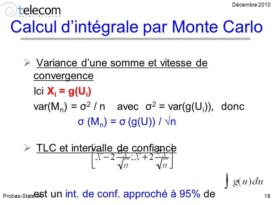 Variance dune somme et vitesse de convergence Ici X i = g(U i ) var(M n ) = σ 2 / n avec σ 2 = var(g(U i )), donc σ (M n ) = σ (g(U)) / n TLC et intervalle de confiance est un int.