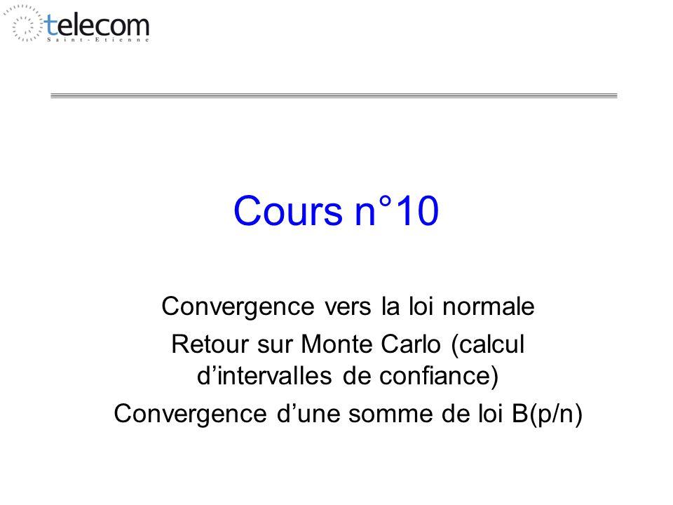 Cours n°10 Convergence vers la loi normale Retour sur Monte Carlo (calcul dintervalles de confiance) Convergence dune somme de loi B(p/n)