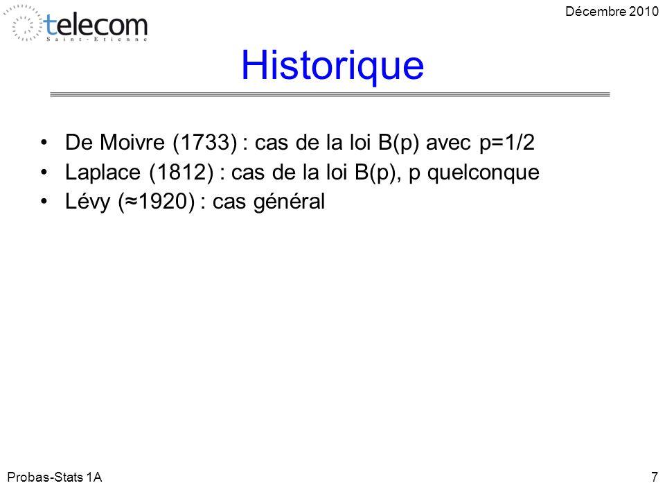 Historique Probas-Stats 1A7 De Moivre (1733) : cas de la loi B(p) avec p=1/2 Laplace (1812) : cas de la loi B(p), p quelconque Lévy (1920) : cas général Décembre 2010