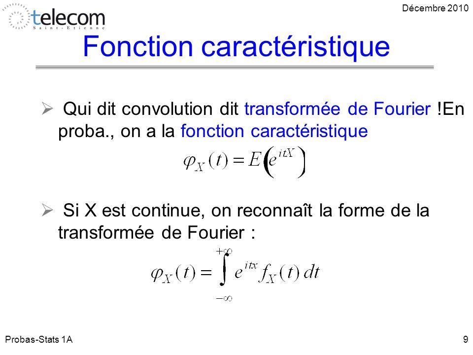 Fonction caractéristique Qui dit convolution dit transformée de Fourier !En proba., on a la fonction caractéristique Si X est continue, on reconnaît la forme de la transformée de Fourier : Probas-Stats 1A9 Décembre 2010